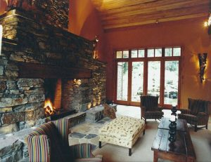 Treetops Lodge, Interior Architecture Fireplace, Rotorua, New Zealand, -38.136848°S, 176.249746°E